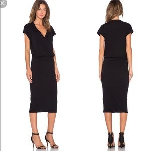 James Perse Sleeveless Wrap Dress in black.